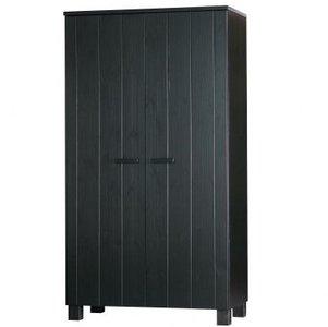 2-deurskast DENNIS geborsteld zwart